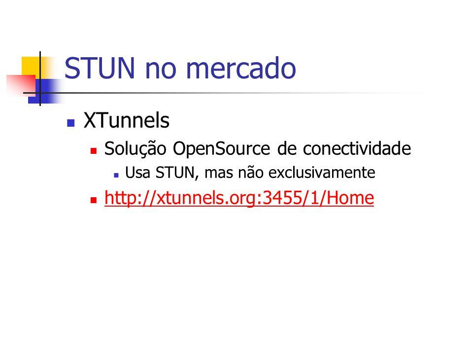 STUN no mercado XTunnels Solução OpenSource de conectividade Usa STUN, mas não exclusivamente http://xtunnels.org:3455/1/Home