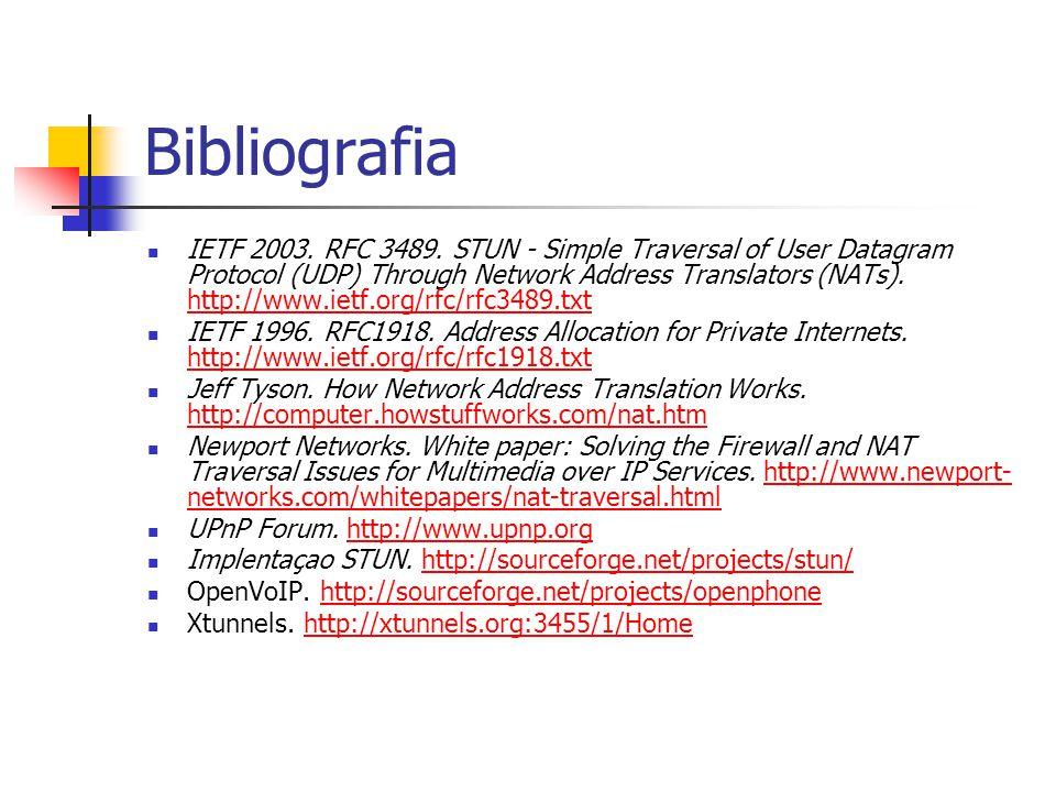 Bibliografia IETF 2003. RFC 3489. STUN - Simple Traversal of User Datagram Protocol (UDP) Through Network Address Translators (NATs). http://www.ietf.