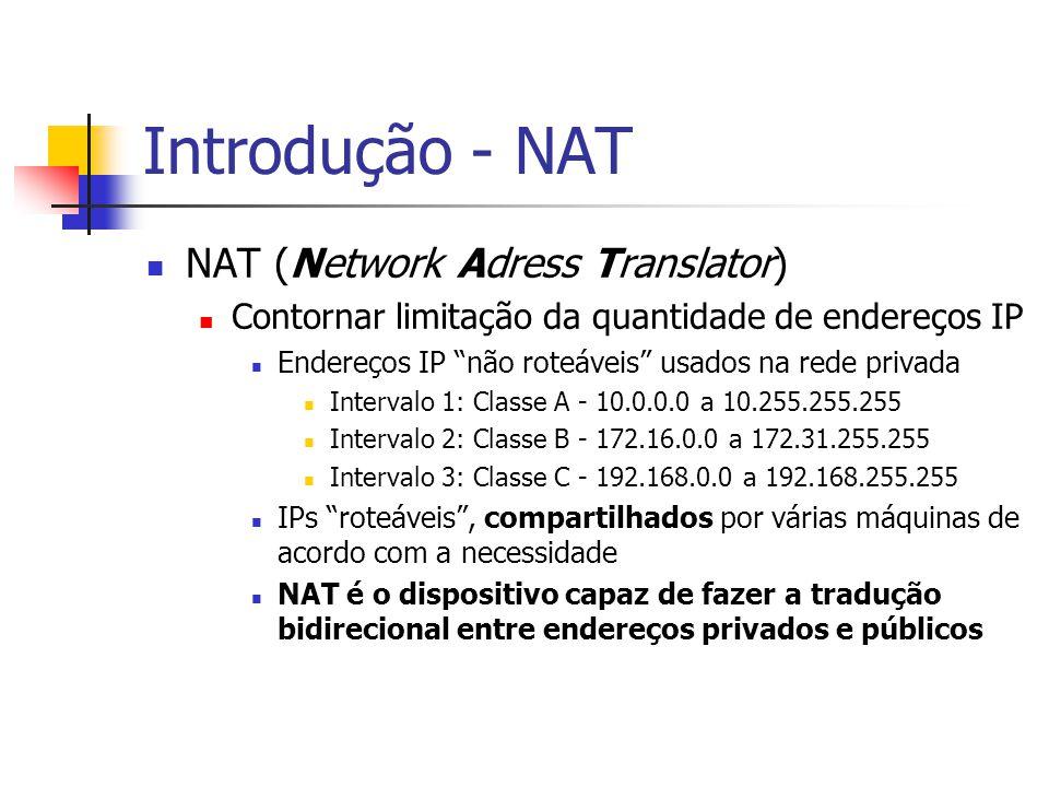 """Introdução - NAT NAT (Network Adress Translator) Contornar limitação da quantidade de endereços IP Endereços IP """"não roteáveis"""" usados na rede privada"""