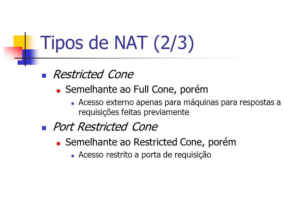 Tipos de NAT (3/3) Symmetric O endereço e porta a serem recebidos dependem do endereço externo a ser acessado Como o Port Restricted, o acesso externo é permitido apenas para resposta