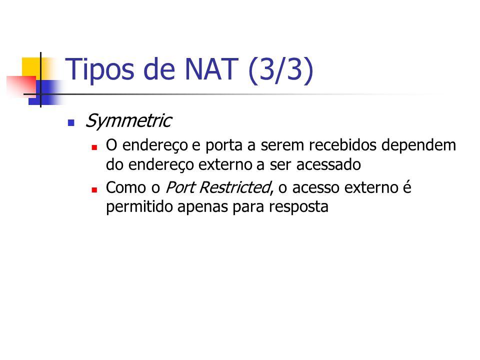 Tipos de NAT (3/3) Symmetric O endereço e porta a serem recebidos dependem do endereço externo a ser acessado Como o Port Restricted, o acesso externo