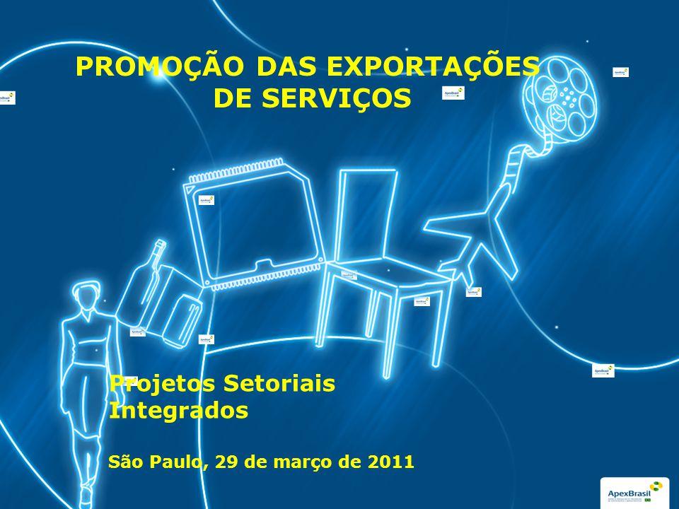 Clique para editar o estilo do subtítulo mestre PROMOÇÃO DAS EXPORTAÇÕES DE SERVIÇOS Projetos Setoriais Integrados São Paulo, 29 de março de 2011