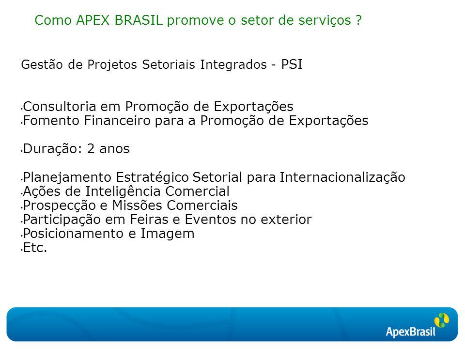 Gestão de Projetos Setoriais Integrados - PSI Consultoria em Promoção de Exportações Fomento Financeiro para a Promoção de Exportações Duração: 2 anos
