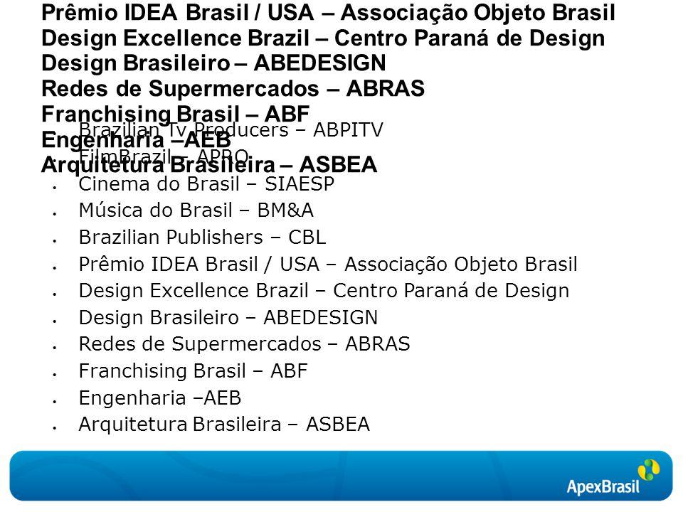  Brazilian Tv Producers – ABPITV  FilmBrazil – APRO  Cinema do Brasil – SIAESP  Música do Brasil – BM&A  Brazilian Publishers – CBL  Prêmio IDEA
