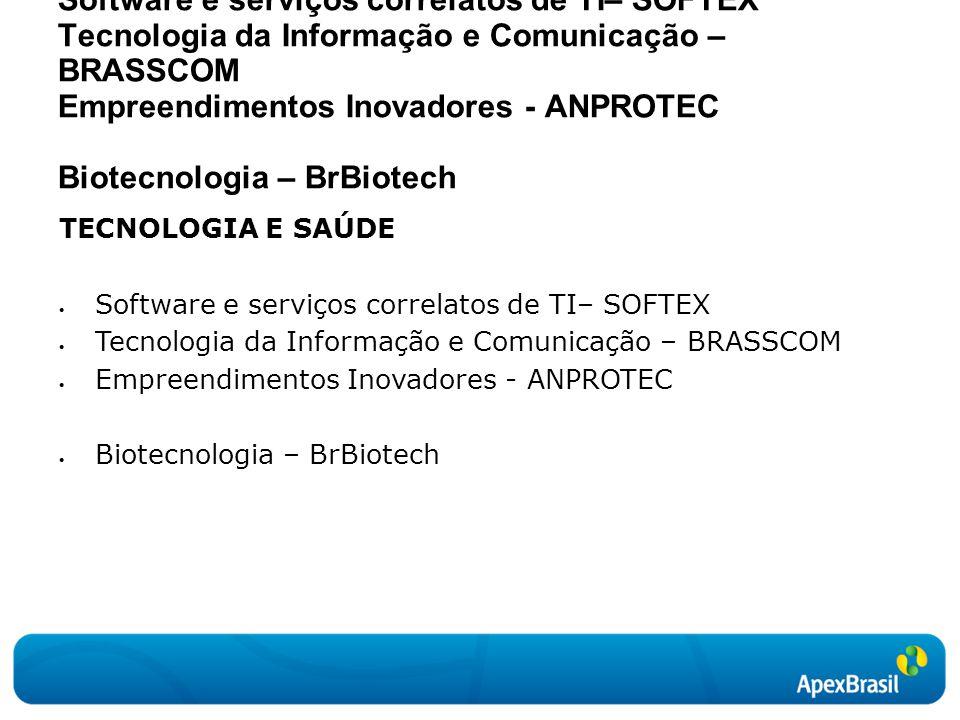 TECNOLOGIA E SAÚDE  Software e serviços correlatos de TI– SOFTEX  Tecnologia da Informação e Comunicação – BRASSCOM  Empreendimentos Inovadores - ANPROTEC  Biotecnologia – BrBiotech TECNOLOGIA E SAÚDE Software e serviços correlatos de TI– SOFTEX Tecnologia da Informação e Comunicação – BRASSCOM Empreendimentos Inovadores - ANPROTEC Biotecnologia – BrBiotech