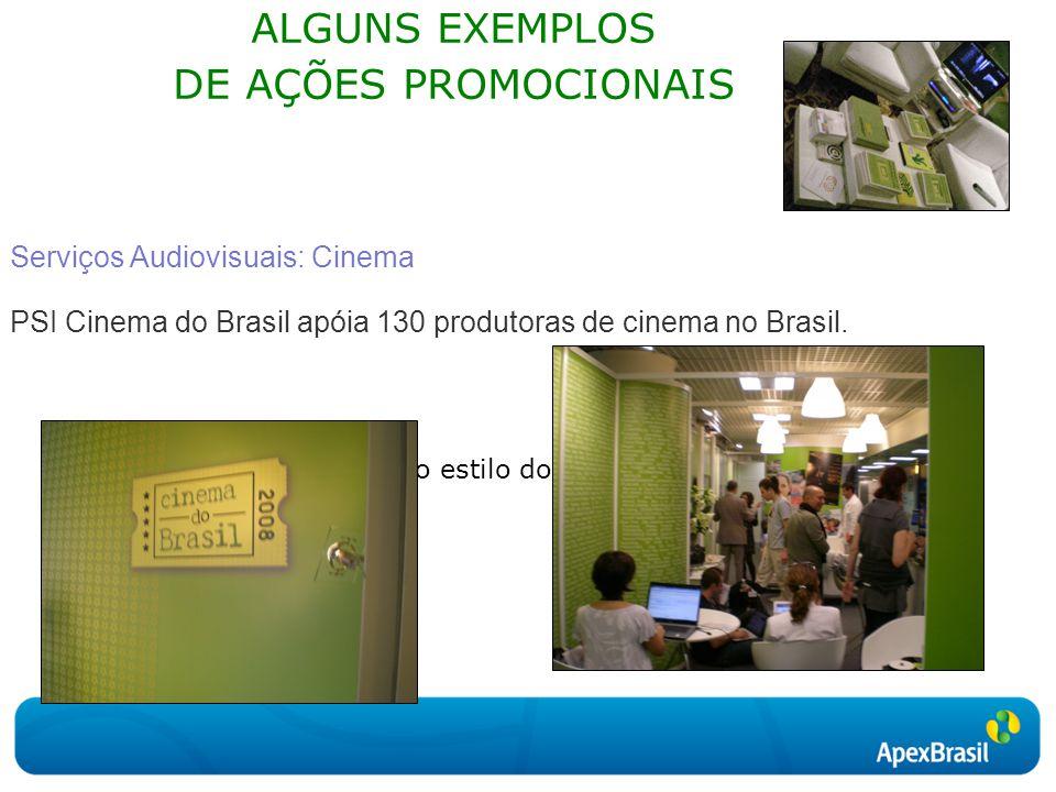 Clique para editar o estilo do subtítulo mestre ALGUNS EXEMPLOS DE AÇÕES PROMOCIONAIS Serviços Audiovisuais: Cinema PSI Cinema do Brasil apóia 130 produtoras de cinema no Brasil.