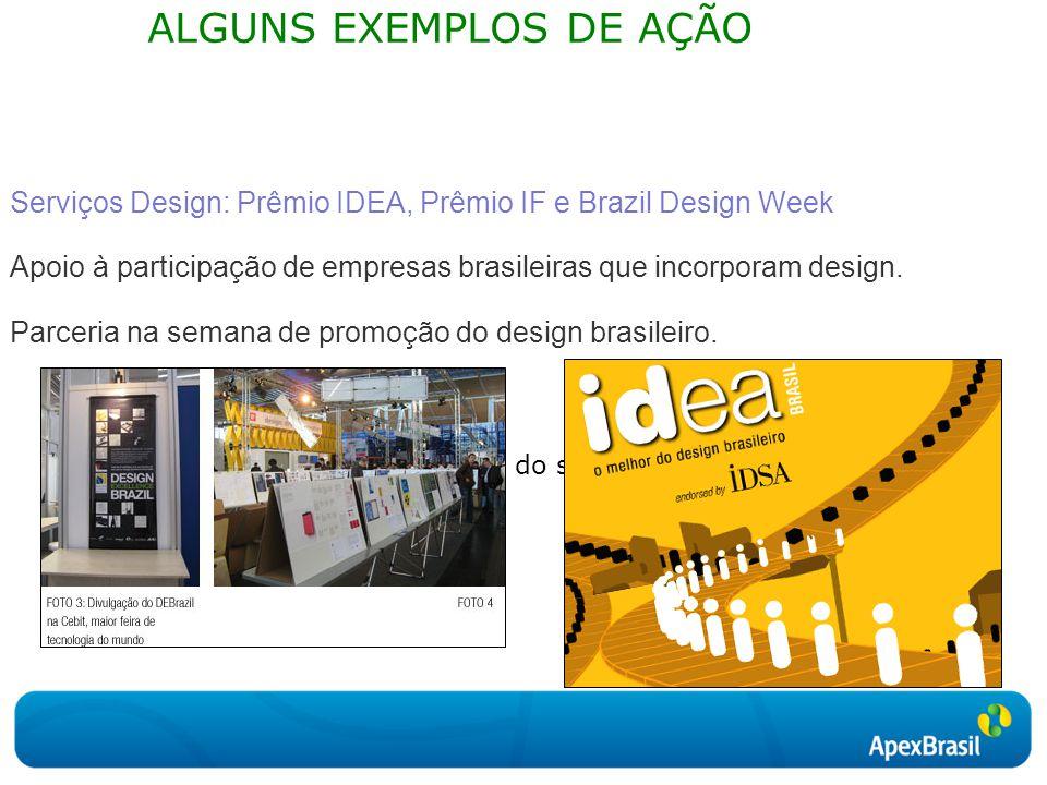 Clique para editar o estilo do subtítulo mestre ALGUNS EXEMPLOS DE AÇÃO Serviços Design: Prêmio IDEA, Prêmio IF e Brazil Design Week Apoio à participação de empresas brasileiras que incorporam design.