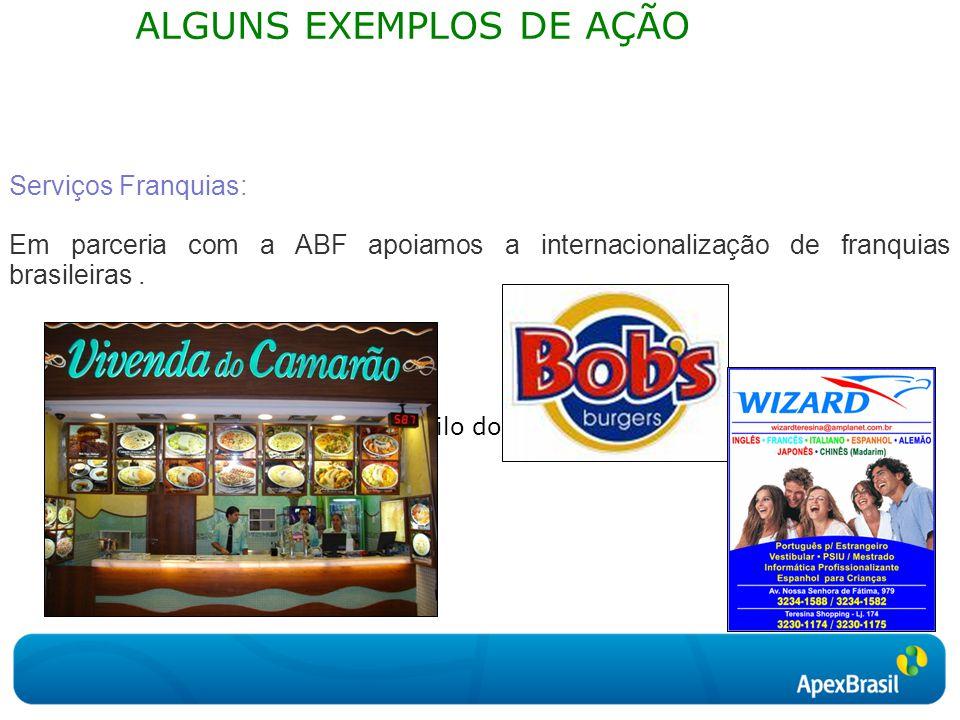 Clique para editar o estilo do subtítulo mestre ALGUNS EXEMPLOS DE AÇÃO Serviços Franquias: Em parceria com a ABF apoiamos a internacionalização de franquias brasileiras.