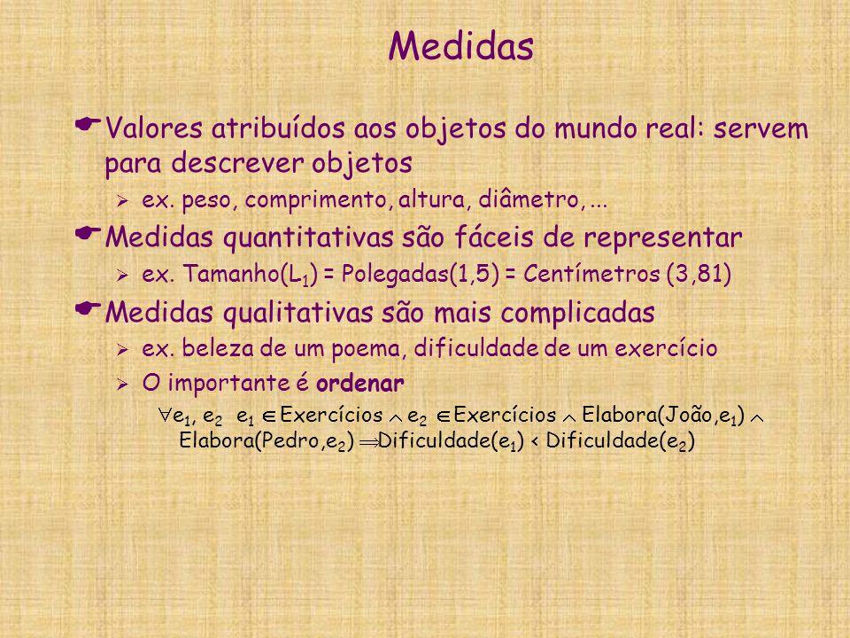 Medidas  Valores atribuídos aos objetos do mundo real: servem para descrever objetos  ex. peso, comprimento, altura, diâmetro,...  Medidas quantita