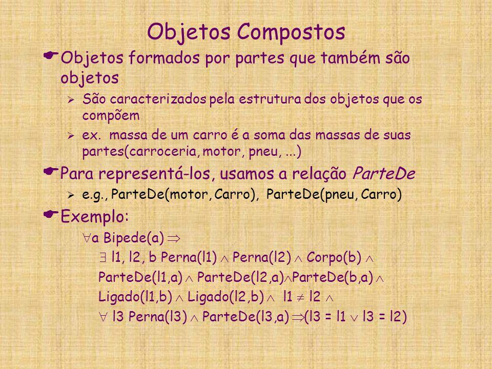 Objetos Compostos  Objetos formados por partes que também são objetos  São caracterizados pela estrutura dos objetos que os compõem  ex. massa de u