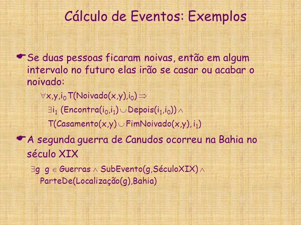 Cálculo de Eventos: Exemplos  Se duas pessoas ficaram noivas, então em algum intervalo no futuro elas irão se casar ou acabar o noivado:  x,y,i 0 T(