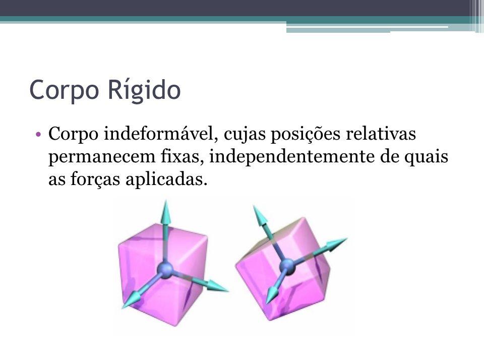 Corpo Rígido Corpo indeformável, cujas posições relativas permanecem fixas, independentemente de quais as forças aplicadas.