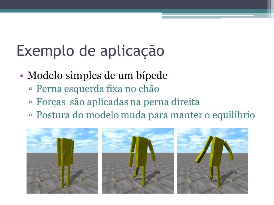 Exemplo de aplicação Modelo simples de um bípede ▫Perna esquerda fixa no chão ▫Forças são aplicadas na perna direita ▫Postura do modelo muda para manter o equilíbrio