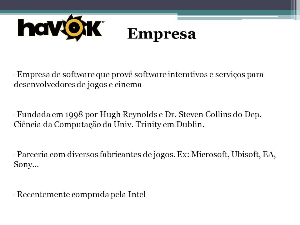 Empresa -Empresa de software que provê software interativos e serviços para desenvolvedores de jogos e cinema -Fundada em 1998 por Hugh Reynolds e Dr.