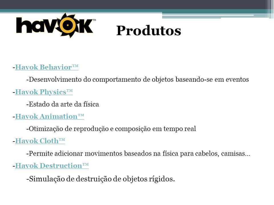 Produtos -Havok Behavior™Havok Behavior™ -Desenvolvimento do comportamento de objetos baseando-se em eventos -Havok Physics™Havok Physics™ -Estado da arte da física -Havok Animation™Havok Animation™ -Otimização de reprodução e composição em tempo real -Havok Cloth™Havok Cloth™ -Permite adicionar movimentos baseados na física para cabelos, camisas… -Havok Destruction™Havok Destruction™ -Simulação de destruição de objetos rígidos.
