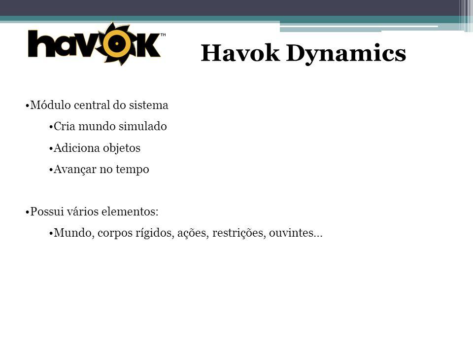 Havok Dynamics Módulo central do sistema Cria mundo simulado Adiciona objetos Avançar no tempo Possui vários elementos: Mundo, corpos rígidos, ações, restrições, ouvintes…
