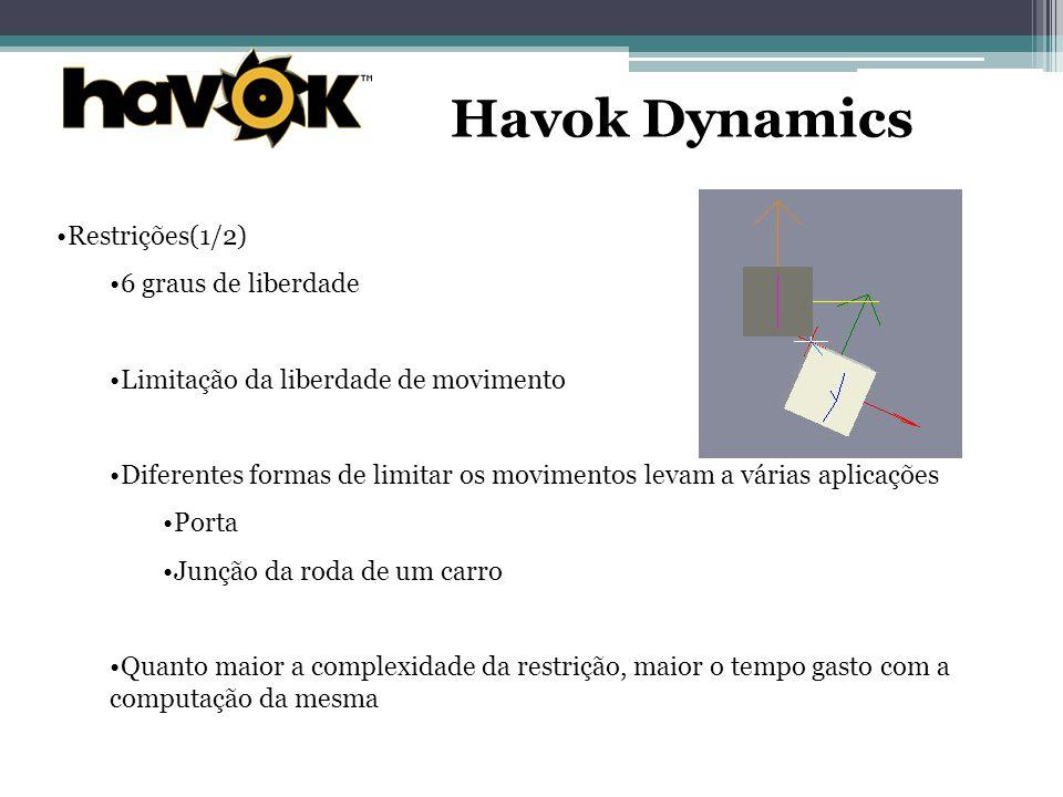 Havok Dynamics Restrições(1/2) 6 graus de liberdade Limitação da liberdade de movimento Diferentes formas de limitar os movimentos levam a várias aplicações Porta Junção da roda de um carro Quanto maior a complexidade da restrição, maior o tempo gasto com a computação da mesma