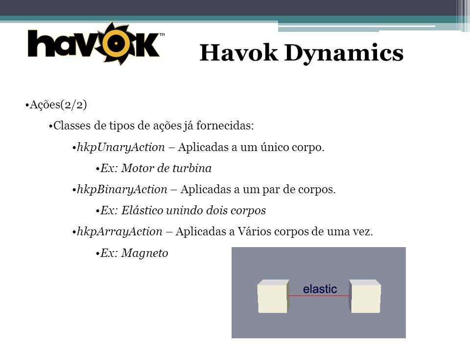 Havok Dynamics Ações(2/2) Classes de tipos de ações já fornecidas: hkpUnaryAction – Aplicadas a um único corpo.