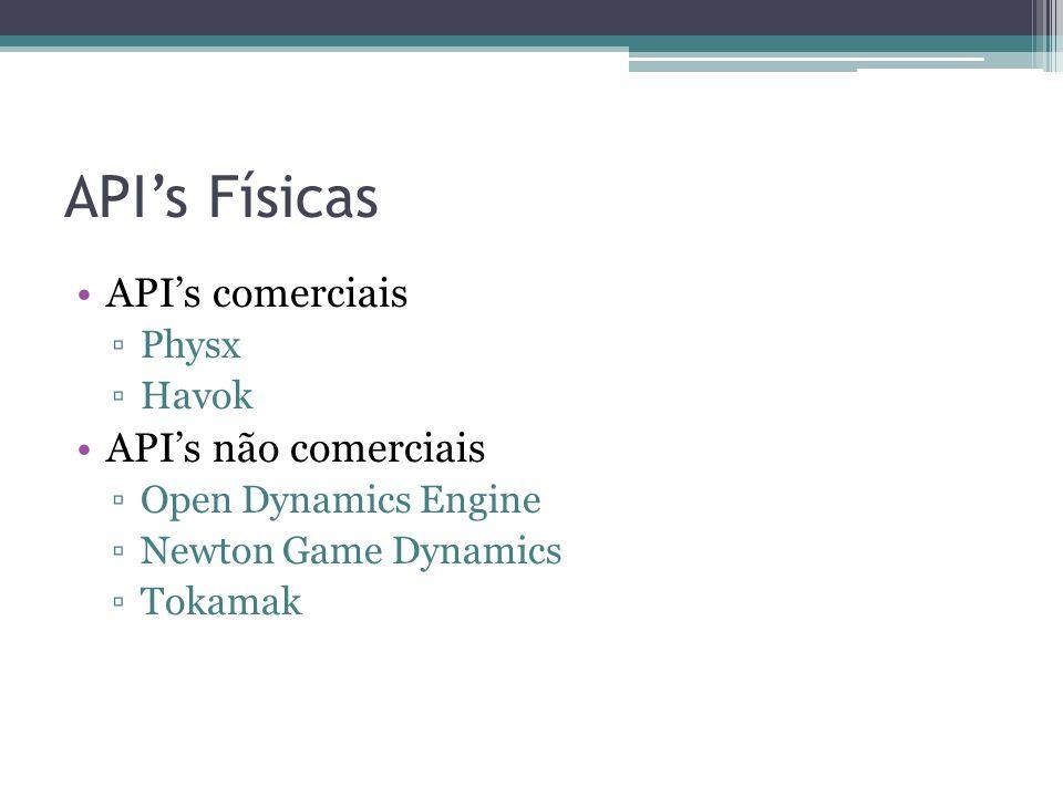 API's Físicas API's comerciais ▫Physx ▫Havok API's não comerciais ▫Open Dynamics Engine ▫Newton Game Dynamics ▫Tokamak
