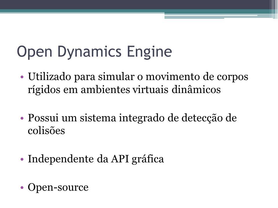 Open Dynamics Engine Utilizado para simular o movimento de corpos rígidos em ambientes virtuais dinâmicos Possui um sistema integrado de detecção de colisões Independente da API gráfica Open-source