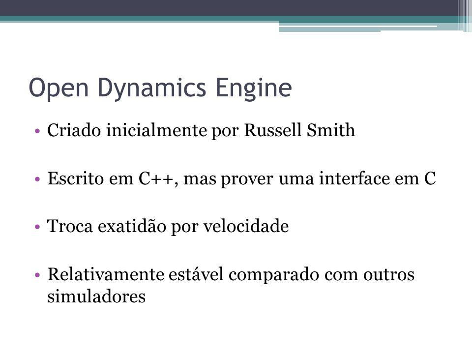 Open Dynamics Engine Criado inicialmente por Russell Smith Escrito em C++, mas prover uma interface em C Troca exatidão por velocidade Relativamente estável comparado com outros simuladores