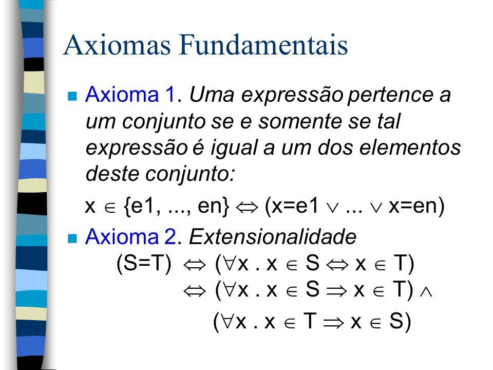 Uma Operação Básica: Pertinência n x  S n x  S =  (x  S) n {x:S   P(x). T(x)} = {x   x  S  P(x). T(x)}