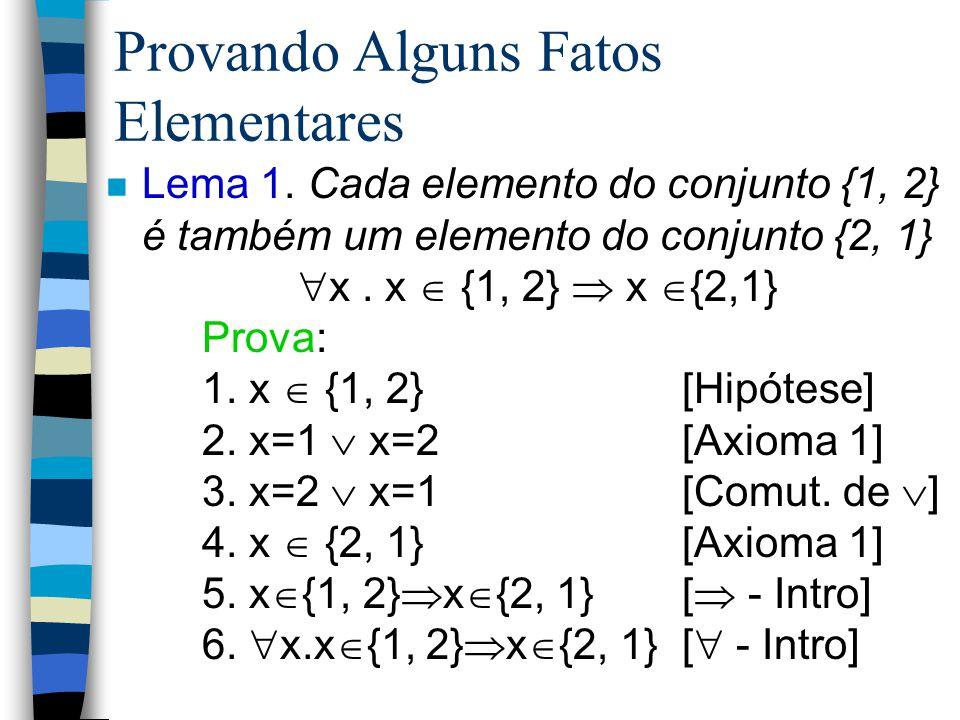 Axiomas Fundamentais n Axioma 1. Uma expressão pertence a um conjunto se e somente se tal expressão é igual a um dos elementos deste conjunto: x  {e1