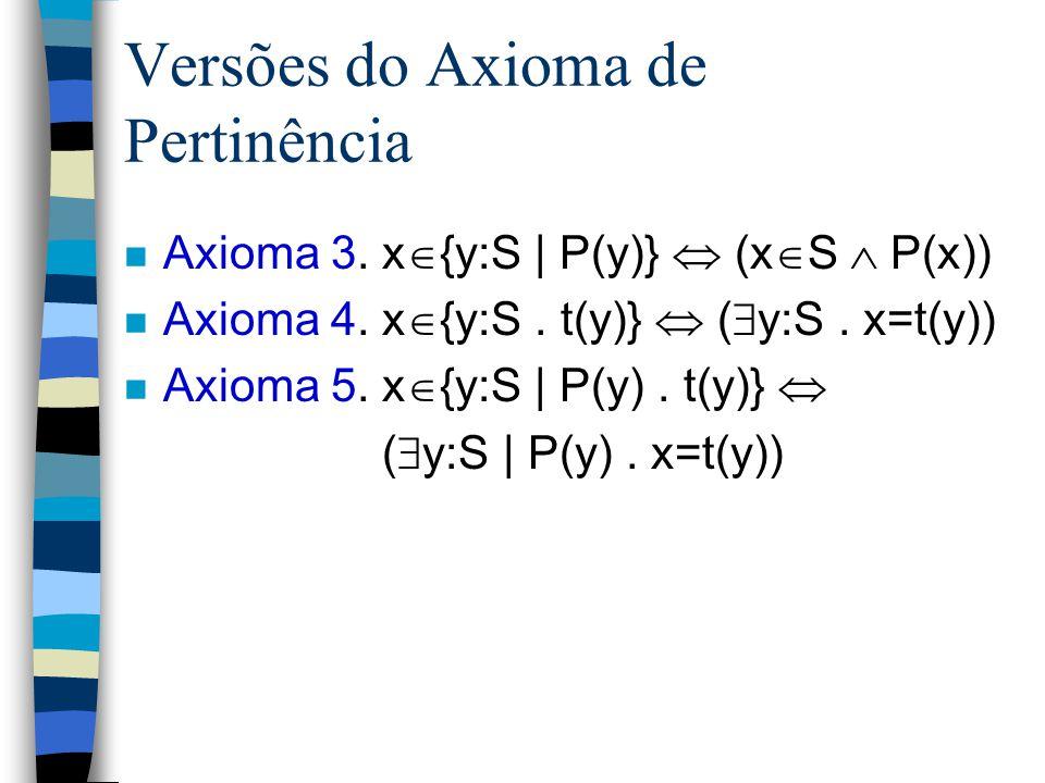 n Teorema {1, 2}={2, 1} Prova. 1.  x.x  {1,2}  x  {2,1}[Lema 1] 2.  x.x  {2,1}  x  {1,2}[Lema 2] 3.  x.x  {1,2}  x  {2,1}  [  -Intro] 