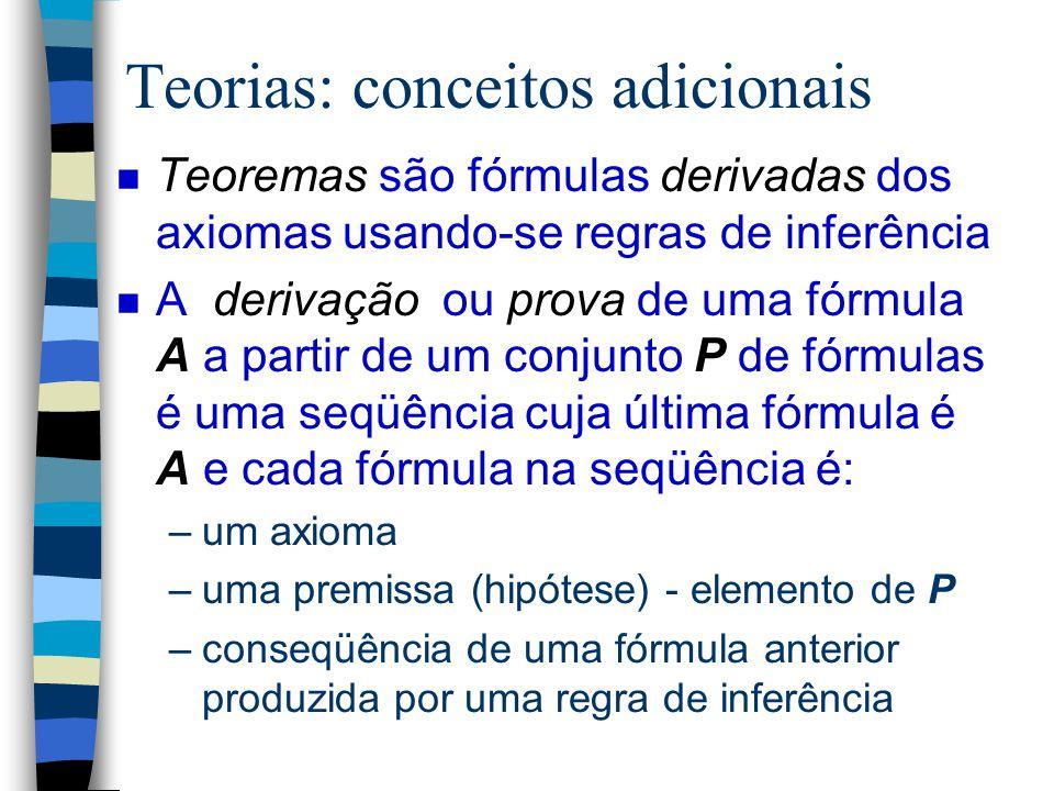 Modelos Matemáticos n Usados como tipos em especificações baseadas em modelos n Apresentados como teorias ou sistemas formais n Uma teoria é definida