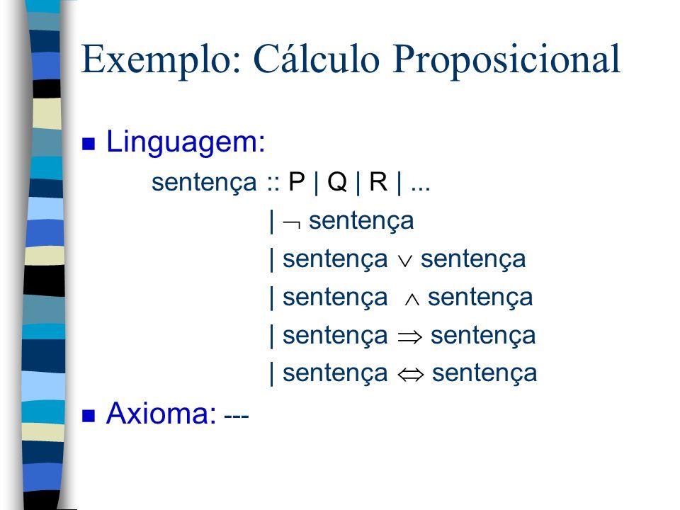 Exemplo n Linguagem: sentença :: nat é par nat :: 0   1   2  ... n Axioma: 0 é par n Regra de Inferência: se n é par então n + 2 é par n Teorema: 2 é