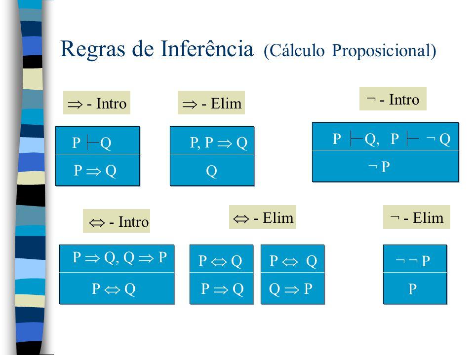 Regras de Inferência (Cálculo Proposicional) P, Q P  Q Q, P P  Q  - Intro P  Q P Q  - Elim P P  Q P Q  P  - Intro R  - Elim P R,Q R, P  Q