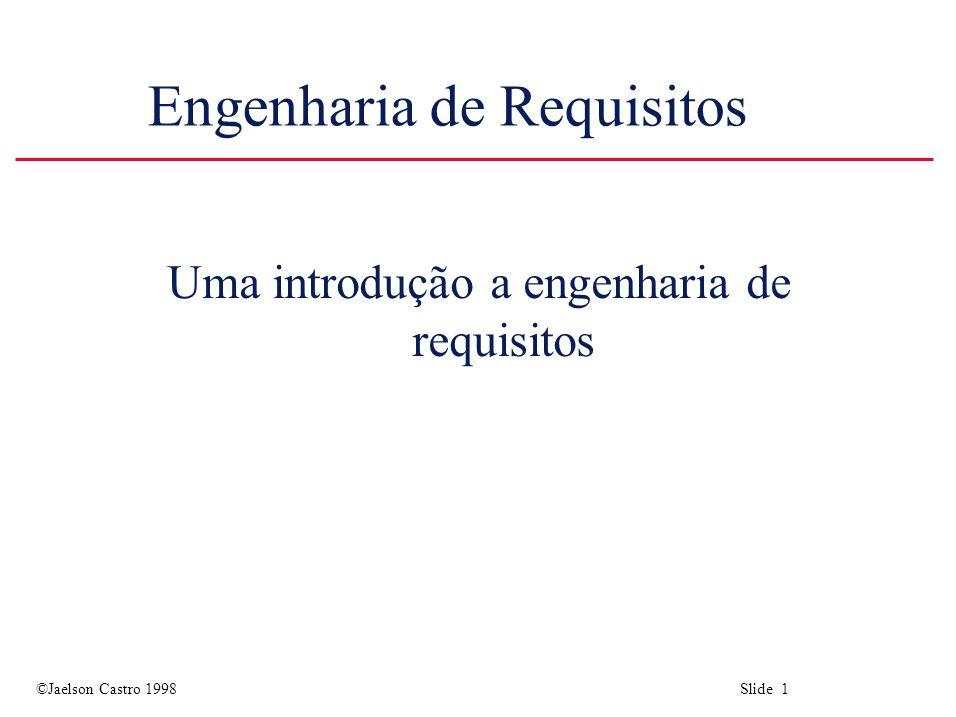 ©Jaelson Castro 1998 Slide 2 Objetivos u Introduzir a noção de requisitos do sistema e processo de engenharia de requisitos.
