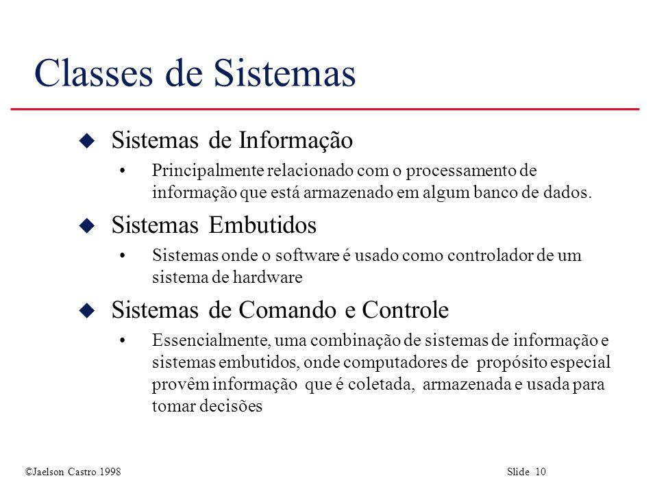 ©Jaelson Castro 1998 Slide 10 Classes de Sistemas u Sistemas de Informação Principalmente relacionado com o processamento de informação que está armaz