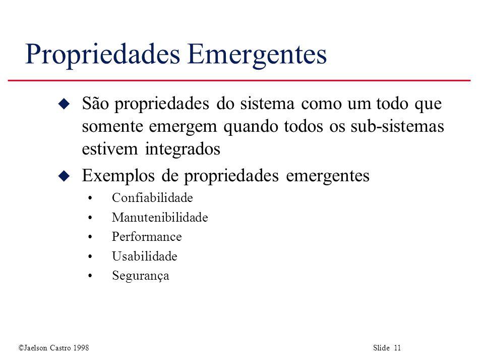 ©Jaelson Castro 1998 Slide 11 Propriedades Emergentes u São propriedades do sistema como um todo que somente emergem quando todos os sub-sistemas esti