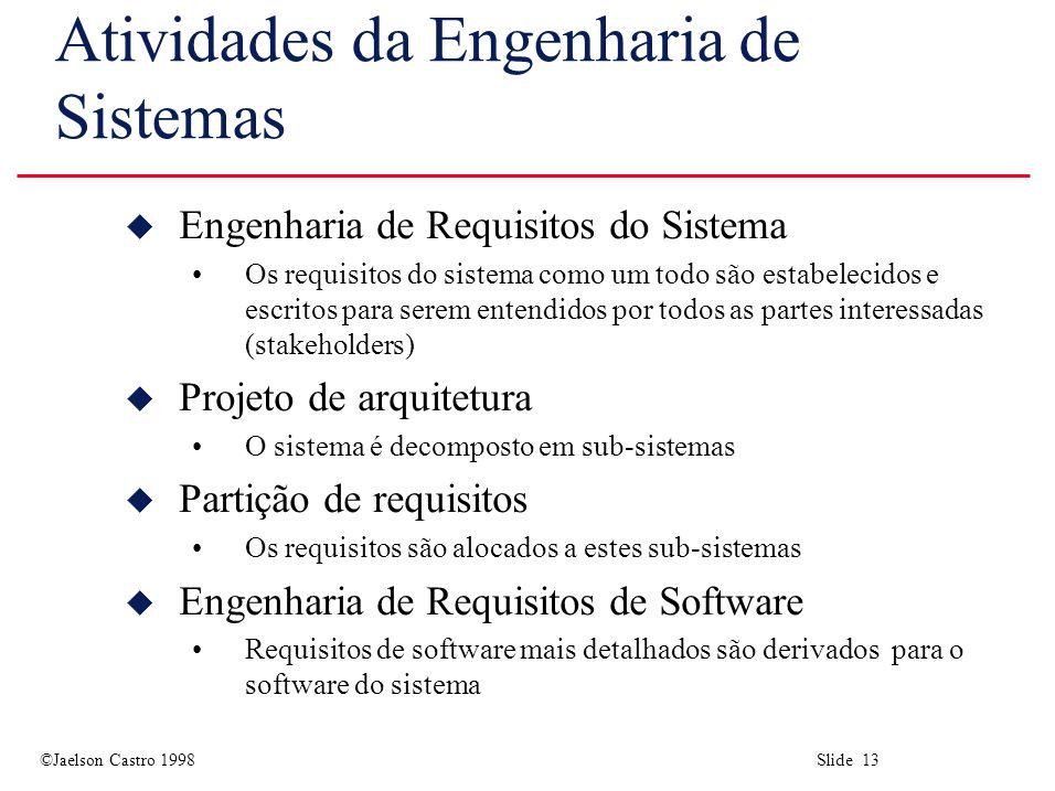 ©Jaelson Castro 1998 Slide 13 Atividades da Engenharia de Sistemas u Engenharia de Requisitos do Sistema Os requisitos do sistema como um todo são est