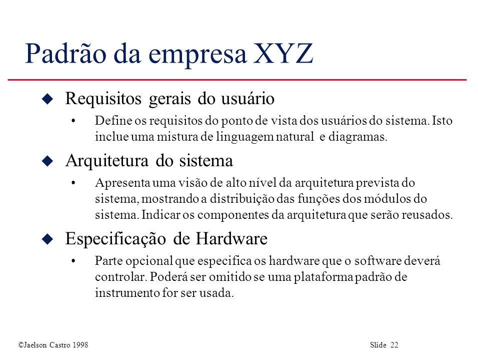 ©Jaelson Castro 1998 Slide 22 Padrão da empresa XYZ u Requisitos gerais do usuário Define os requisitos do ponto de vista dos usuários do sistema. Ist