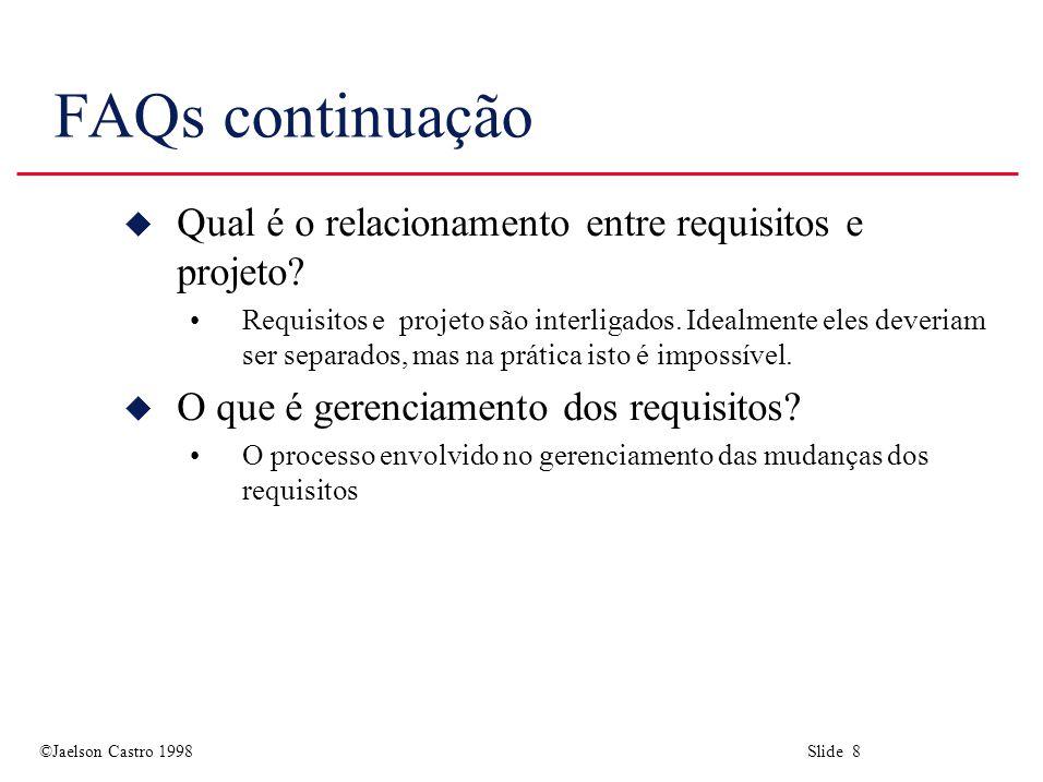 ©Jaelson Castro 1998 Slide 19 A estrutura do documento de requisitos u 2.Descrição Geral 2.1 Perspectiva do produto 2.2 Funções do produto 2.3 Características do usuário 2.4 Limitações gerais 2.5 Suposições e dependências u 3.Requisitos específicos Cobrem requisitos funcionais, não-funcionais e interface.