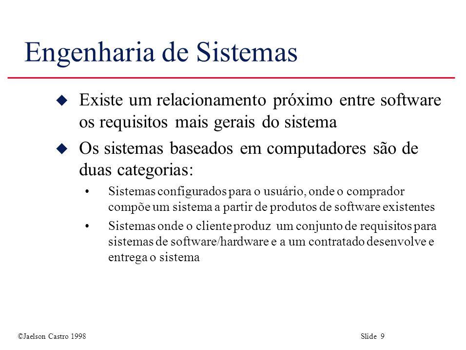©Jaelson Castro 1998 Slide 9 Engenharia de Sistemas u Existe um relacionamento próximo entre software os requisitos mais gerais do sistema u Os sistem