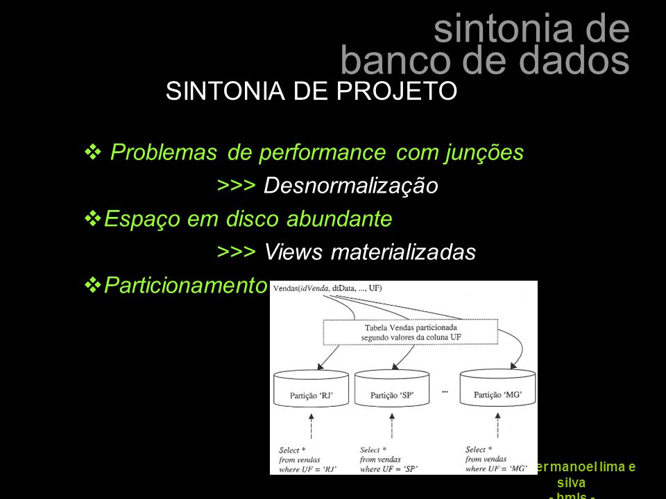 sintonia de banco de dados hélder manoel lima e silva - hmls - SINTONIA DE PROJETO  Problemas de performance com junções >>> Desnormalização  Espaço