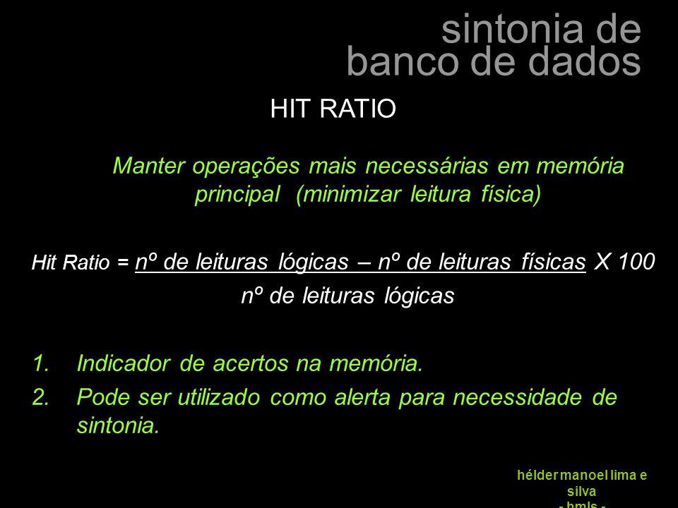 sintonia de banco de dados hélder manoel lima e silva - hmls - Manter operações mais necessárias em memória principal (minimizar leitura física) Hit R