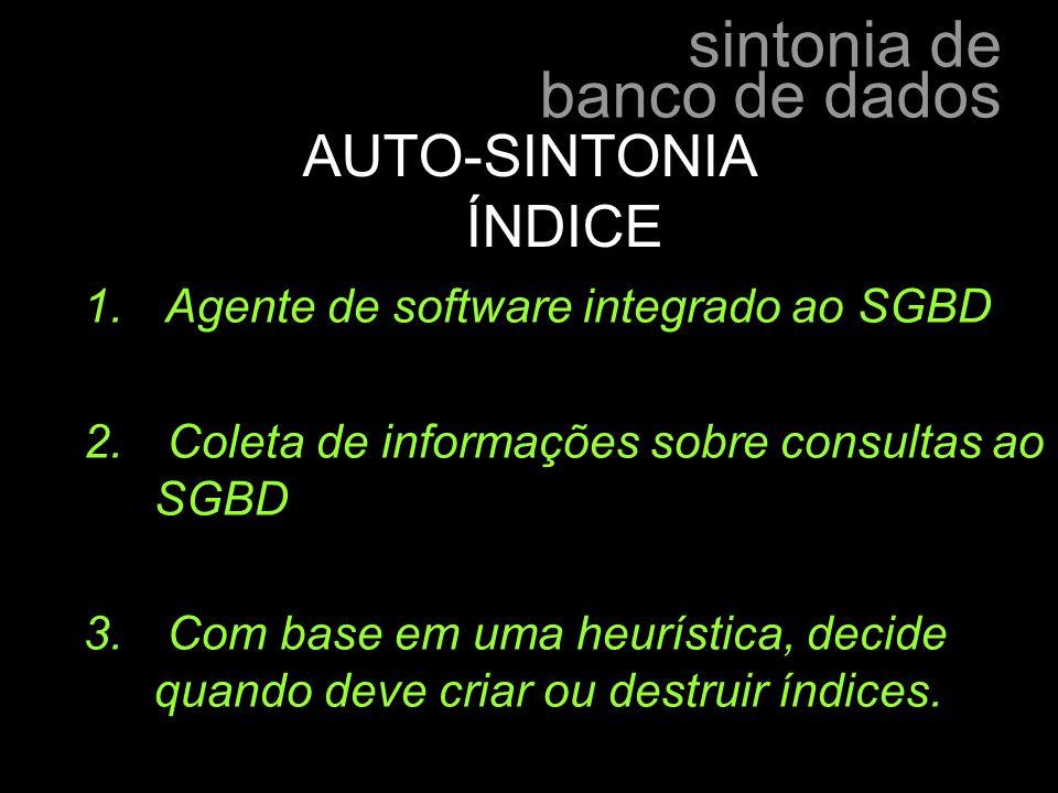 sintonia de banco de dados hélder manoel lima e silva - hmls - 1. Agente de software integrado ao SGBD 2. Coleta de informações sobre consultas ao SGB