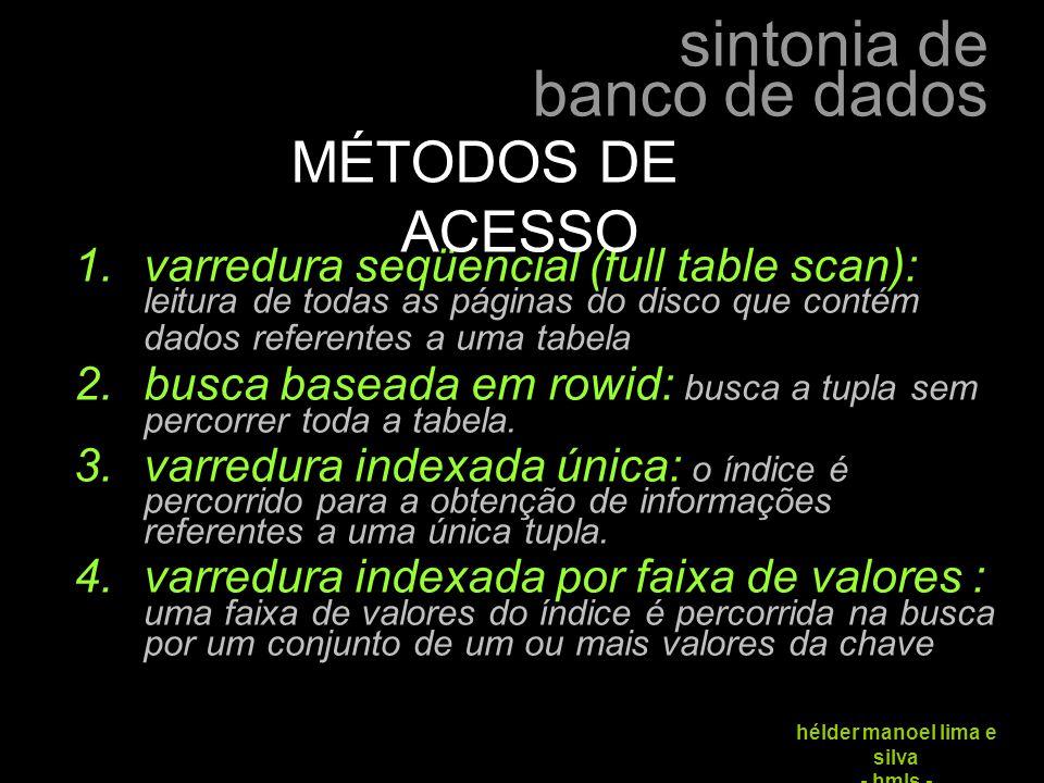 sintonia de banco de dados hélder manoel lima e silva - hmls -  varredura seqüencial (full table scan): leitura de todas as páginas do disco que con