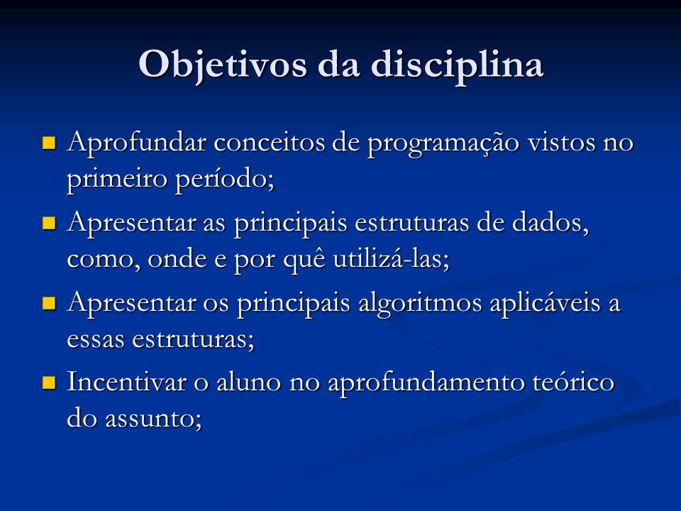 Objetivos da disciplina Aprofundar conceitos de programação vistos no primeiro período; Aprofundar conceitos de programação vistos no primeiro período