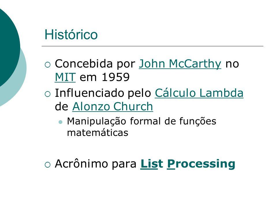 Histórico  Concebida por John McCarthy no MIT em 1959John McCarthy MIT  Influenciado pelo Cálculo Lambda de Alonzo ChurchCálculo LambdaAlonzo Church Manipulação formal de funções matemáticas  Acrônimo para List Processing