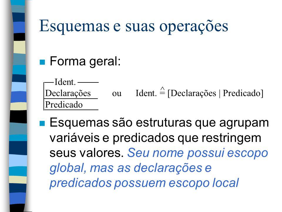 Esquemas e suas operações n Forma geral: Ident. Declarações ou Ident.