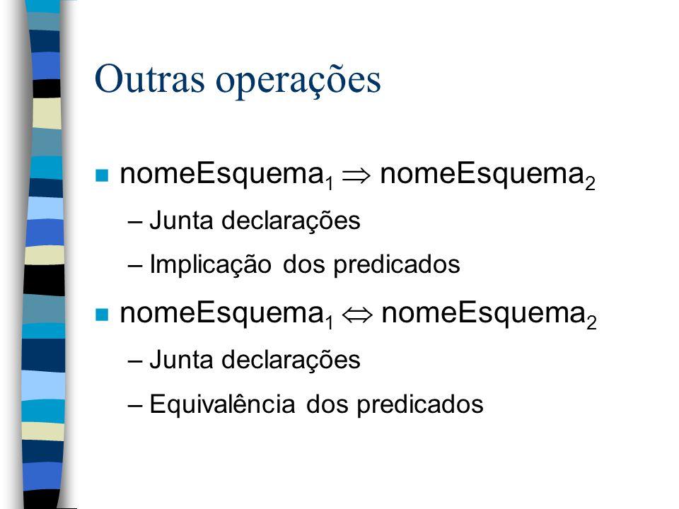 Outras operações n nomeEsquema 1  nomeEsquema 2 –Junta declarações –Implicação dos predicados n nomeEsquema 1  nomeEsquema 2 –Junta declarações –Equivalência dos predicados