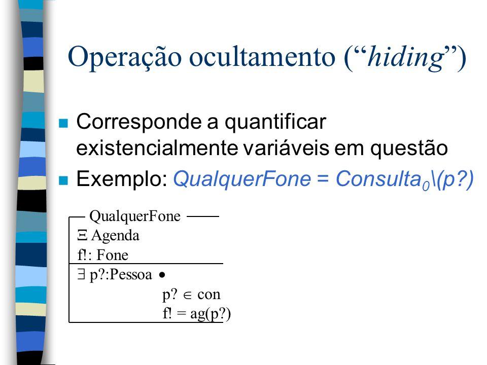 Operação ocultamento ( hiding ) n Corresponde a quantificar existencialmente variáveis em questão n Exemplo: QualquerFone = Consulta 0 \(p?) QualquerFone  Agenda f!: Fone  p?:Pessoa  p.