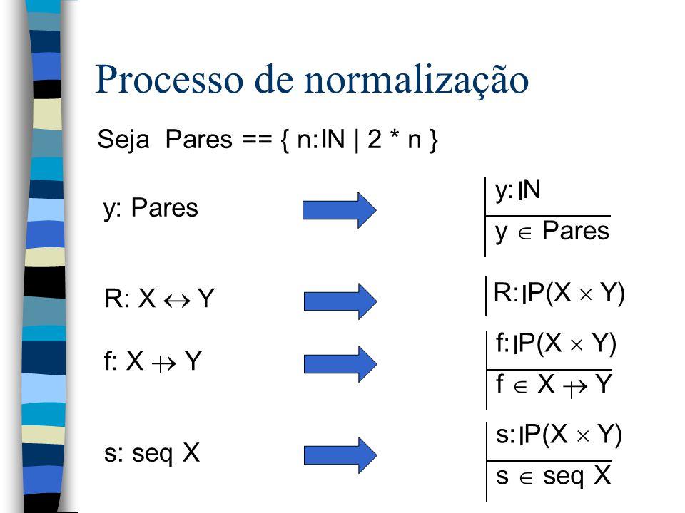 Processo de normalização Seja Pares == { n: N | 2 * n } I y: Pares y: N y  Pares I R: X  Y R: P(X  Y) I f: X  Y f: P(X  Y) f  X  Y I s: seq X s: P(X  Y) s  seq X I