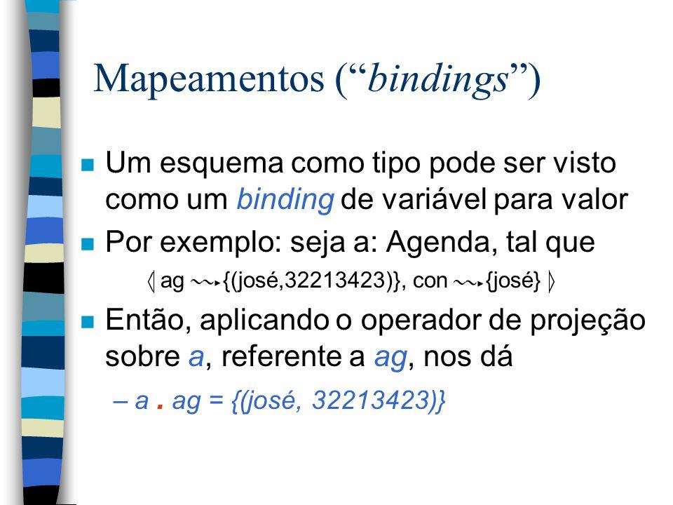 Mapeamentos ( bindings ) n Um esquema como tipo pode ser visto como um binding de variável para valor n Por exemplo: seja a: Agenda, tal que  ag {(josé,32213423)}, con {josé}      n Então, aplicando o operador de projeção sobre a, referente a ag, nos dá –a.
