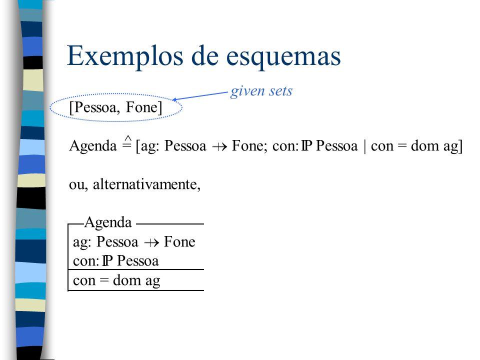 Exemplos de esquemas [Pessoa, Fone] Agenda = [ag: Pessoa  Fone; con: P Pessoa | con = dom ag] ou, alternativamente, Agenda ag: Pessoa  Fone con: P Pessoa con = dom ag I ^ I given sets